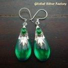 Silver & Synthetic Green Quartz Earrings SJ-185-KT