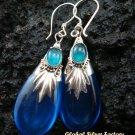 Silver Shappire & Agate Teardrop Earrings SJ-188-KA