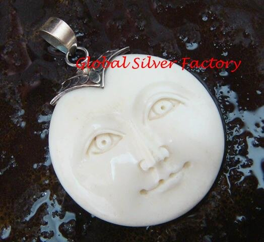 Hand Made Sterling Silver Moon Face Carved Bone Pendant GDP-1150-KA