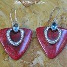 Sterling Silver Heart Red Coral & Blue Topaz Earrings ER-824-KT