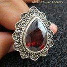 Extra Large 925 Sterling Silver & Garnet Bali Designer Ring RI-400-KT