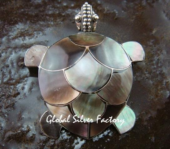 Sterling Silver & Brown Shell Pendant Brooch Combination BC-174-KT
