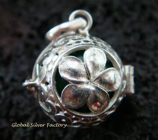 925 Silver Frangipani Harmony Ball Pendant HB-304-KT