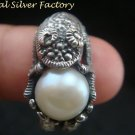 Sterling Silver Freshwater Pearl Lizard Ring RI-446-PS