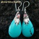 Silver Turquoise (syn) & Garnet Earrings SJ-198-KA