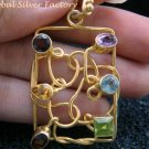 Gold Plated Multi Gemstone Pendant GPP-109-NY