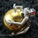 925 Silver Garnet Frog 20mm Chime Ball Pendant CH-316-KT