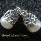 Sterling Silver Flower & Crown Pearl Earrings ER-723-KA