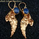 Gold Plated Lapis Leaf Earrings GPE-123-NY