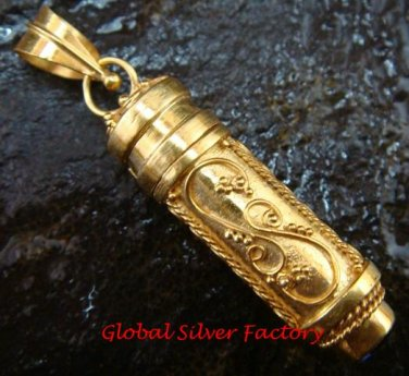 925 Silver & 22kt Gold Plated Cremation Perfume Pendant GPP-106-KT