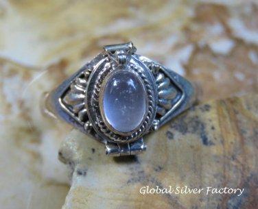 Silver and Rose Quartz Locket Ring LR-741-KT