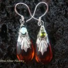 925 Silver Amber & Peridot Earrings SJ-170-KA