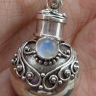 Sterling Silver Cremation , Perfume Pendant, Ashes Pendant Rainbow Moonstone PP-411-DG