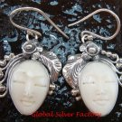 Hand Made Sterling Silver Face Ox Bone Earrings GDE-1157-NY