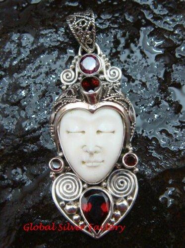 Unique Sterling Silver Bali Traditional Face Pendant w Garnet GDP-1144-PS