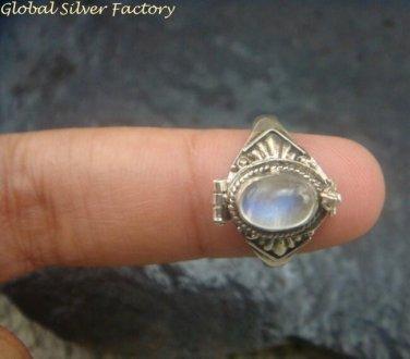 Silver and Rainbow Moonstone Locket Ring LR-705-KT