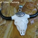 Sterling Silver Carved Buffalo Skull and Horns Pendant BP-201-PS
