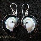 Sterling Silver Black Nautilus Shell Earrings ER-535-KT