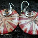 925 Silver Garnet & Shell Earrings ER-544-KT