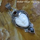 Silver and Garnet Carved Goddess Pendant GDP-1288-PS