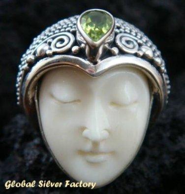 Sterling Silver Peridot Carved Bone Goddess Ring GDR-224-PS