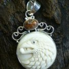 Sterling Silver Animal Totem Eagle Animal Cameo Pendant with Jasper BP-187-KT