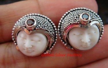 Sterling Silver Garnet Goddess Stud Earrings GDE-1098-PS