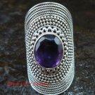 Large Silver Amethyst Gemstone Ring RI-365-KT