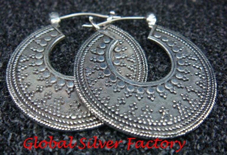 925 Silver Traditional Bali Style Hoop Earrings SE-212-KT