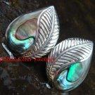 Sterling Silver Leaf Design Paua Shell Earrings ER-659-PS