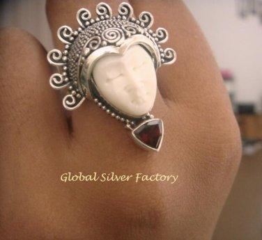 Silver and Trillion Garnet Goddess Ring GDR-1230-KT