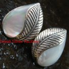 Sterling Silver Leaf Design White Shell Earrings ER-660-PS