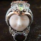 Sterling Silver Carved Face Goddess Ring w/Gem GDR-1132-PS