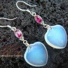 925 Silver Synthetic Opalite Ruby Heart Earrings SJ-131a-GSF
