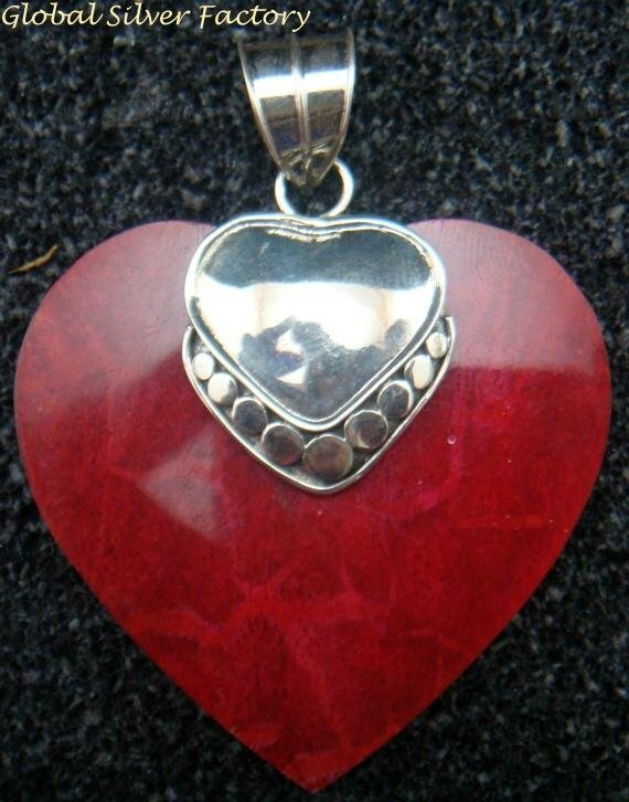 Sterling Silver Love Heart Coral Pendant SP-693-PS