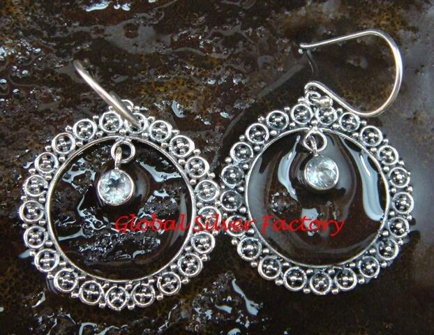 Sterling Silver & Blue Topaz Gemstone Round Dangle Earrings ER-662-PS