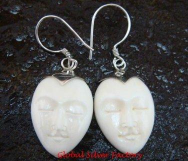 Sterling Silver Hand Carved Cow Bone Oval Moon Face  Earrings  GDE-1155-KA