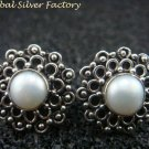 Oxidized Sterling Silver Pearl Stud Earrings ER-727-KA