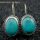 Sterling Silver & Oval Turquoise Bali Earrings ER-684-KT