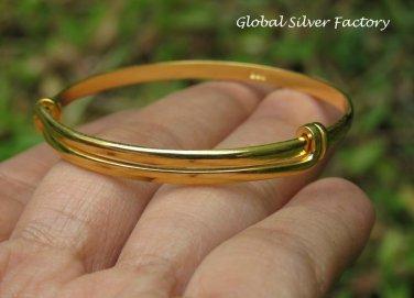 Sterling Silver & 22kt Gold Vermeil Adjustable Baby Toddler Bangle SBB-479-KA