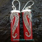 Bali Sterling Silver Coral Tube Earrings ER-597-NY