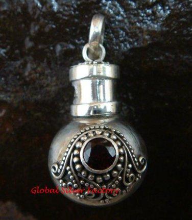 New Model 925 Silver Bali Ornate Cremation Pendant w/Garnet PP-384-KT