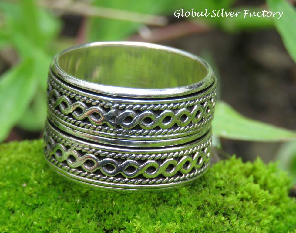 Limited Edition Sterling Silver Double Spinner, Worry Rung, Men's Ring SR-229-KA