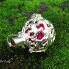 Sterling Silver and Garnet Gekko Harmony Ball Pendant HB-418