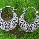 Sterling Silver Bali Filigree Hoop Earrings SE-282