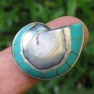 Blue Colored Nautilus Shell Ring RI-684