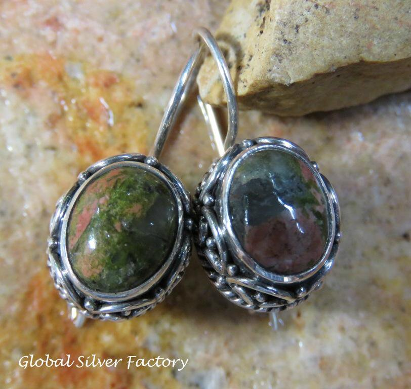 Sterling Silver Unakite Earrings ER-832-NY