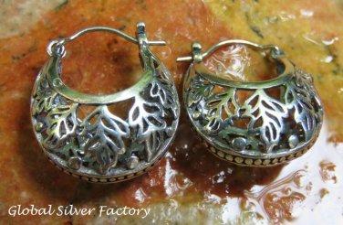Sterling Silver Filigree Hoop Earrings SE-262-KA