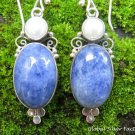 Sterling Silver Sodalite & Pearl Dangle Earrings ER-845