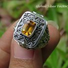 Choose Size 6/7/8/9/10 Handcrafted Citrine Poison Locket Ring LR-747-NY